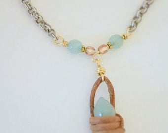 Bohemian - stone - chain - layering - necklace - leather - gold - natural jade - boho - layering - Free people style - 2BFree Jewelry