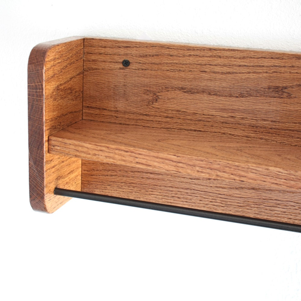 Wooden Shelf With Towel Bar: Wood Towel Rack With Shelf & Towel Bar Solid By