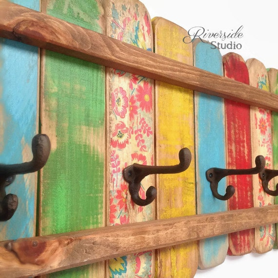 Wood Boho Coat Rack Cast Iron Coat Hook Shabby Chic Coat