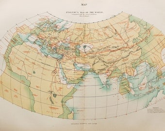 Antique Map, Ptolemy's Map of the World, Encyclopedia Britannica, 1870s