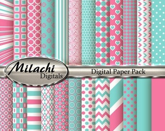 70% OFF SALE Carnation Pink and Blue Digital Paper Pack, Scrapbook Papers, Commercial Use - Instant Download - M110