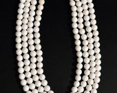 Vintage Faceted Milk Glass Multi Strand Necklace, Box Clasp, White Costume Jewelry, Vintage Jewelry