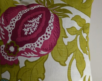 Pillow Cover - Green, Pink and Turqouise Floral Print