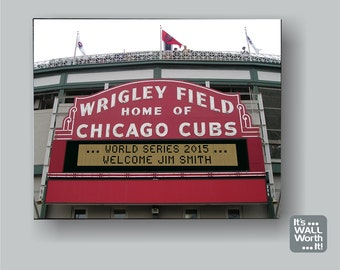 "Personalized Wrigley Field Sign Canvas 8""x10"" - Chicago Cubs"