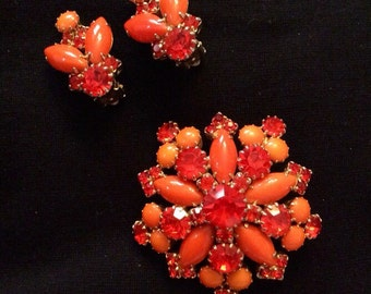Bright Orange Juliana ( DeLizza & Elster ) Brooch / Pin and Earring Set