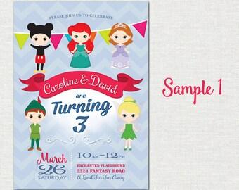 Disney Girl & Boy Birthday Invitation / Sibling Birthday Invitation / Disney Birthday Invitation / Disney Combined Birthday Invitation