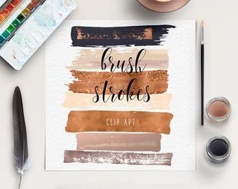 FEMININE   Brush Stroke Clip Art   Copper, Gold Rose Clipart   Hand Painted Clip Art   Acrylic Brush Strokes   Paintbrush Strokes   BUY5FOR8