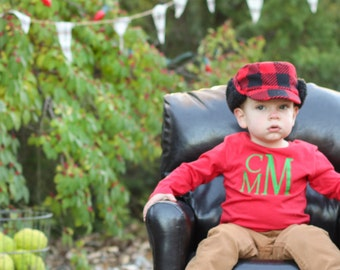 Boys Monogram Long Sleeve Shirt | Monogrammed Long Sleeve | Christmas Shirt | Gift for Boy | Holiday Picture Shirt | Gifts Under 20