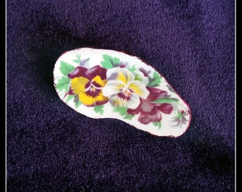 Handmade OOAK broken china pansy brooch