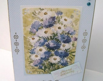 Handmade Birthday Card, Blue and White Daisies, Birthday Cards, Note Cards, Blank Cards, Handmade Greeting Cards, Floral Greeting Cards