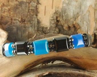 Double Magnetic Hematite Blue Stone Bracelet Over 10,000 Gauss Healing