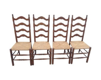 Vintage Tall Maple Ladder Back Dining Chairs Set Of 4