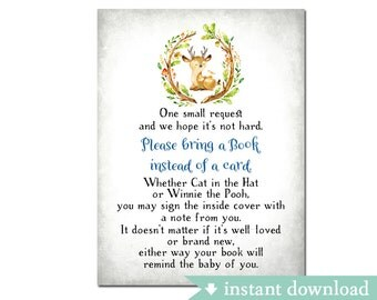 """Woodland Baby Book Request Insert Card 4x3"""" (6 Per Page) // Bring a Book instead of a card // INSTANT DOWNLOAD No.41BOY"""
