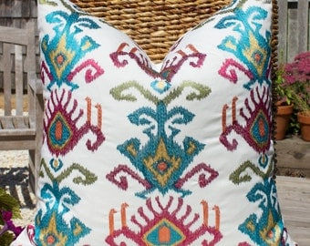 Embroidery Linen Blend Pillow Cover in Multicolor. Ikat Embroidery Pillow Cover in Multi. Lumbar Linen Blend Pillow Cover.