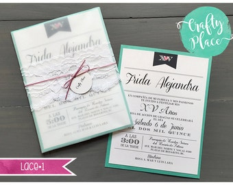 """Sample - Lace belly band sweet 16/xv años/bridal shower invitation - white/teal/pink  - 6x8"""" - custom made"""