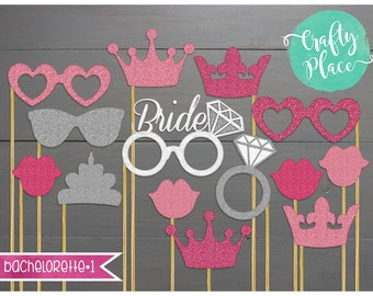 Personalized bridal shower photo booth props / printed / bridal shower, bachelorette, wedding / 14 piece kit