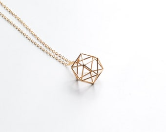 Icosahedron geometric pendant | necklace | bracelet - medium, platonic solids, sacred geometry gold jewelry silver