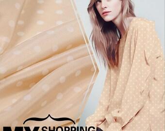 140CM Wide 16MM Dots Print Silk Crepe De Dhine Fabric for Summer Dress Shirt Clothes E003