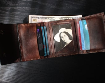 Men's Leather wallet, Men's Wallet, Leather Wallet,Trifold Wallet, Personalized Wallet / Handmade Leather Wallet /Perfect gift for him/ VD20