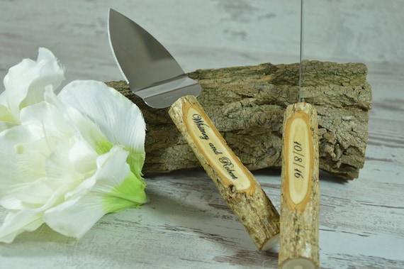 Rustic Wedding Cake Knife Set Personalized Engraved Initials Wooden