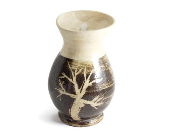 8 oz Sake Pitcher,  pottery jug, Brown and tan with hand etched tree, Wheel Thrown ceramic