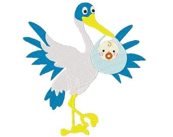 Stork Delivery Machine Embroidery Design Baby Design 4X4 5X7 8X8 6X10 Instant download
