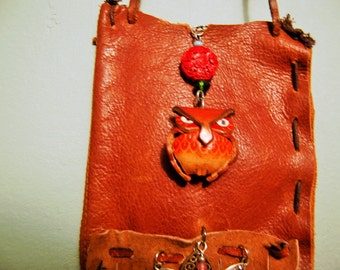 end of summer sale Little Owl Leather Pouch Reclaimed Eco Friendly