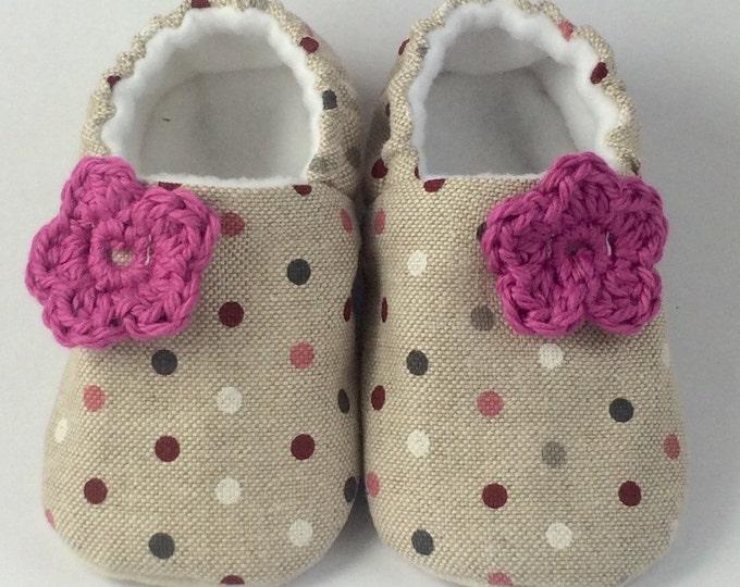 linen polka dot with a little crochet flower