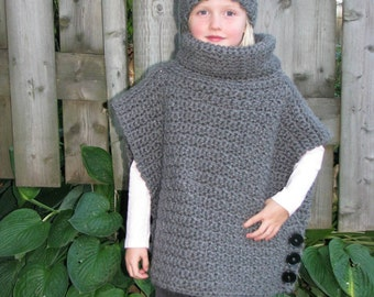 Girl's/ toddler's cowl neck button poncho