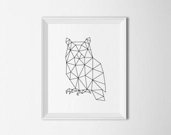 Owl printable art, geometric owl print, owl wall art, owl decor, abstract owl, minimal wall art, geometric print, black and white art print