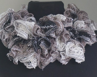 multicolored neutral handmade crochet scarf