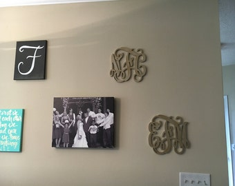 Wooden Monogram Wall Hanging sale sale item large inch wooden monogram letters vine room