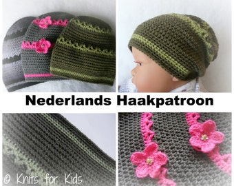 Dutch crochet pattern Baggy/Slouch Hat boys and girls 6-24 MOS
