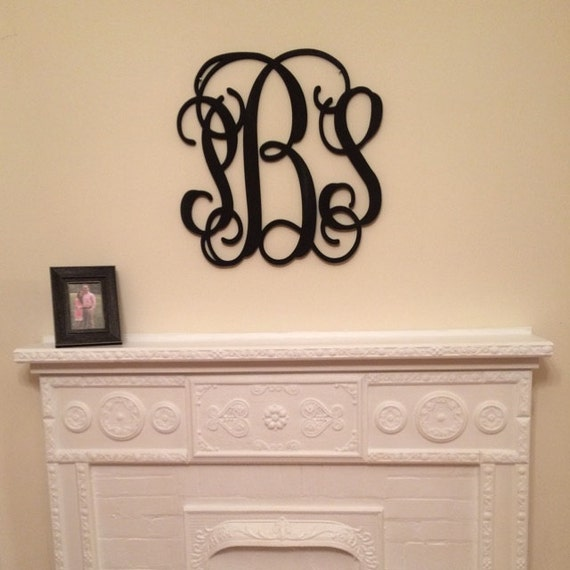 Wooden monogram initials wall hanging nursery decor wood - Wood letter wall decor ...