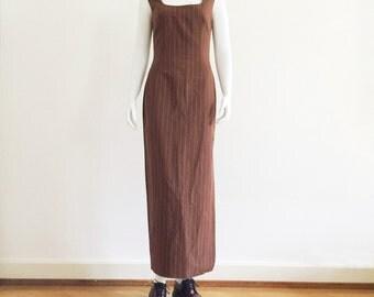 90s DOLCE&GABBANA pinstripe linen maxi dress