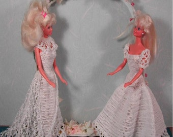 Crochet Fashion Doll Barbie Pattern- #28 QUICK & EASY Wedding Gowns