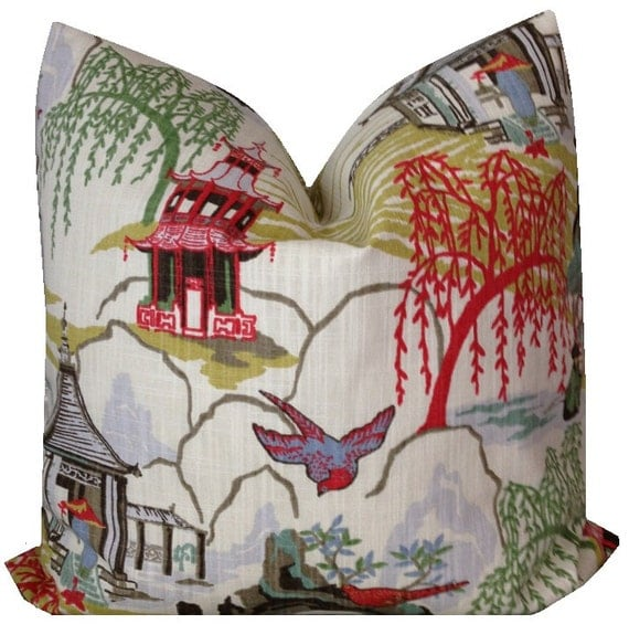 Robert Allen Neo Toile  Floral Pillow Cover Bird  Pillow Asian Pillow Pagoda Pillow Throw Pillow ONE COVER