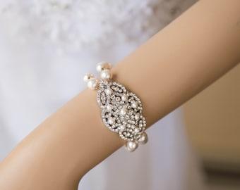 2 strands Swarovski Pearl Bridal Bracelet, Vintage Style CZ Crystal Wedding Bracelet Cuff, Wedding Bridesmaid Bracelet