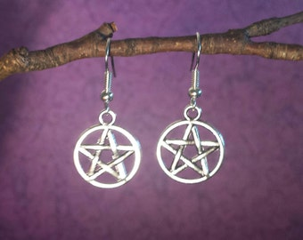 Pentacle Earrings, Wiccan Jewelry, Pagan, Magic, Magick