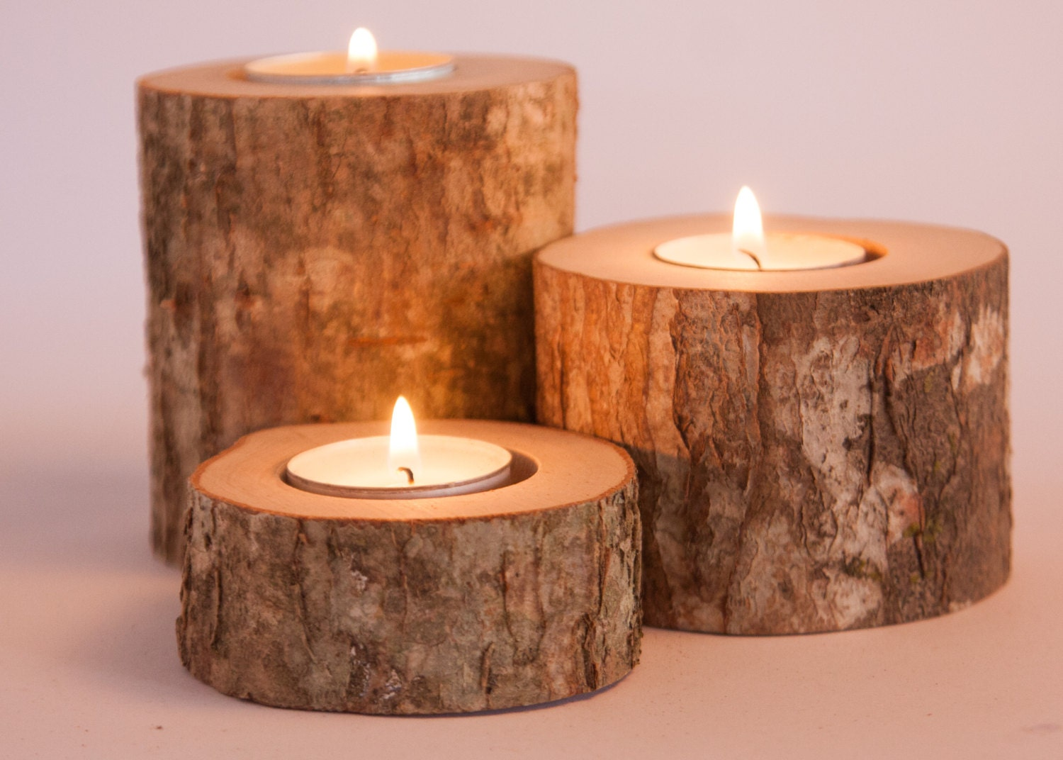9 rustic candle holders tea light holder woodland wedding for Used candle holders