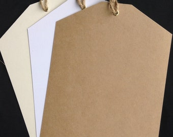 Ex Large Kraft Luggage Tags A5 (15cm X 21cm) complete with Brass eyelet and country twine, sold in packs of 10 Tags.