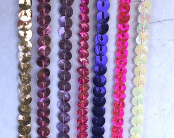"""5 yards of single strand Metalic Sequin Trim 1/4"""" wide in many colors."""