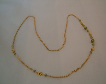 ong, Green Crystal Necklace, With Chain