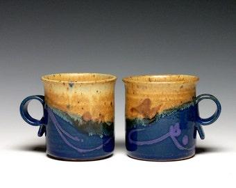 Pair of Stoneware Pottery Mugs, Hand Thrown Mugs. Coffee Mugs, Ceramic Mugs