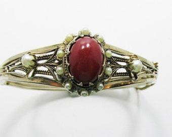 Vintage - Carnelian Bangle Bracelet - Pearls - Flawless - 1940s - Edwardian Look