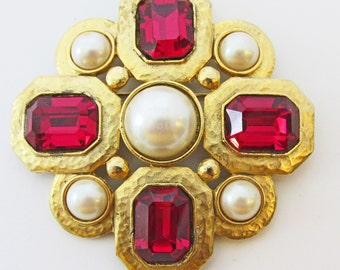 Dramatic Vintage 1970s Signed TAT Faux Pearl Cabochon and Red Rhinestone Pin