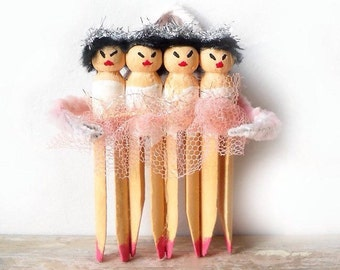 Ballerina Ornament, Clothespin Art Doll Assemblage, Pink and White Tree or Wall Decoration