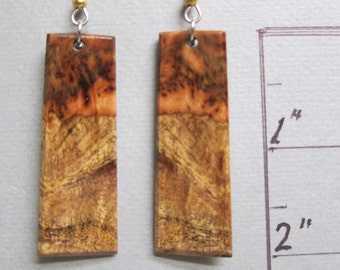 Unique Spalted Redwood Earrings Long Dangle Exotic WoodHandmade by ExoticWoodJewelryAnd Ecofriendly