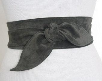 Dark Green Suede Leather Obi Belt tulip tie| Waist Belt | Leather tie belt | Suede Belt| Plus size belts