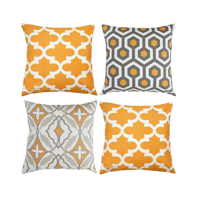 Orange And Gray Decorative Pillows : Orange Grey Pillow Cover.Moroccan Pillows.Decorative